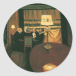 Poker game painting by Vallotton players at table Round Sticker
