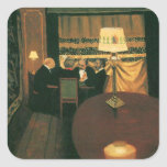 Poker game painting by Vallotton players at table Square Stickers