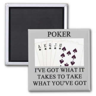 poker game player joke square magnet