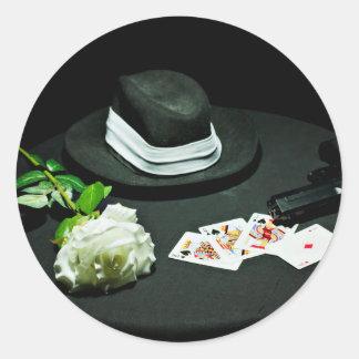 Poker gangster gun rose round sticker