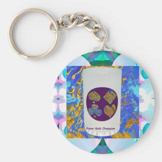 Poker Gold Champion Glass Basic Round Button Key Ring