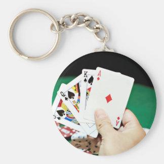 Poker good hand key chain