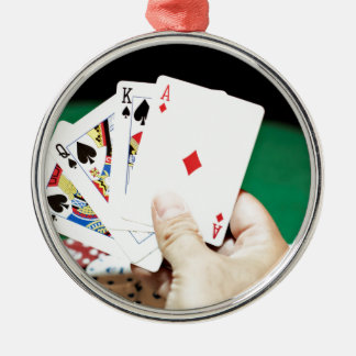 Poker good hand Silver-Colored round decoration