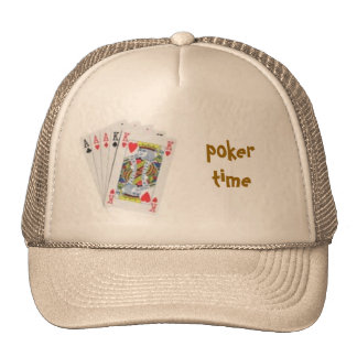 poker hand, poker time cap trucker hat