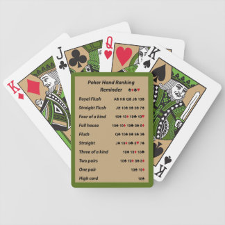 Poker Hand Ranking Reminder Tone 1 Bicycle Playing Cards