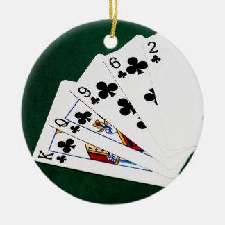 Poker Hands - Flush - Clubs Suit Christmas Ornament
