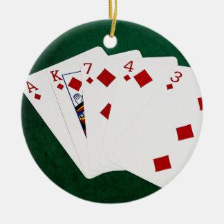 Poker Hands - Flush - Diamonds Suit Christmas Ornament