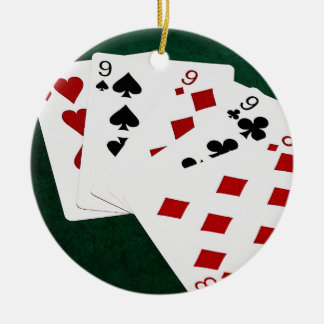 Poker Hands - Four Of A Kind - Nines and Eight Christmas Ornament