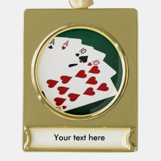 Poker Hands - Full House - Ace and Ten Gold Plated Banner Ornament