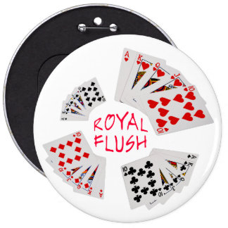 Poker Hands - Royal Flush 6 Cm Round Badge