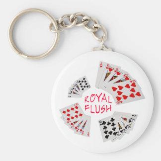 Poker Hands - Royal Flush Basic Round Button Key Ring