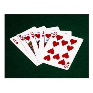 Poker Hands - Royal Flush - Hearts Suit Postcard
