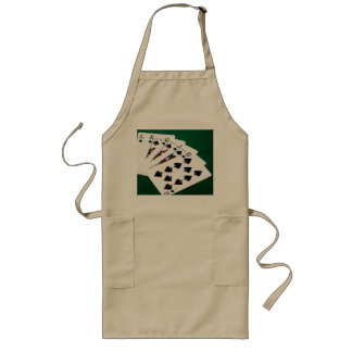 Poker Hands - Royal Flush - Spades Suit Long Apron