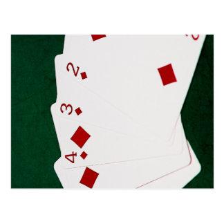 Poker Hands - Straight Flush - Diamonds Suit Postcard
