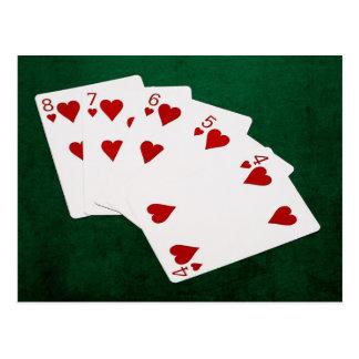Poker Hands - Straight Flush - Hearts Suit Postcard