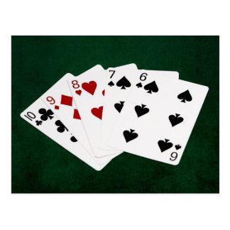 Poker Hands - Straight - Ten To Six Postcard