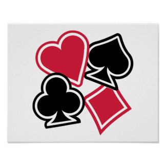 Poker heart spade diamond club print