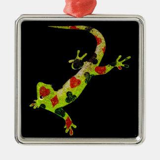 Poker Lizard Silver-Colored Square Decoration