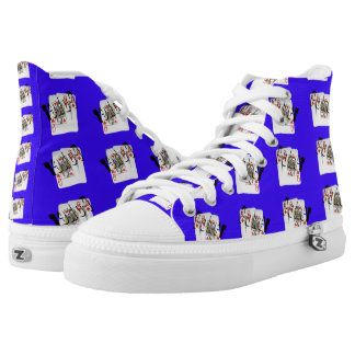 Poker Logo, Queens, Blue High Unisex Zipz Shoes Printed Shoes