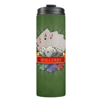 Poker Mania - Cards, Dices, Chips: Personalizable Thermal Tumbler