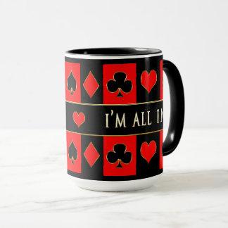 POKER MUG - I'm All In - Red/Black/Gold