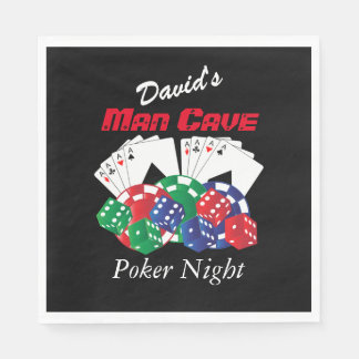 Poker Night at the Man Cave | Personalize Disposable Serviettes