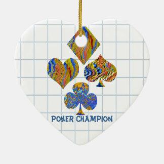 POKER Night Championship Ceramic Heart Decoration