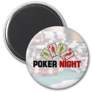 Poker Night with Playing Cards and Poker Chips 6 Cm Round Magnet
