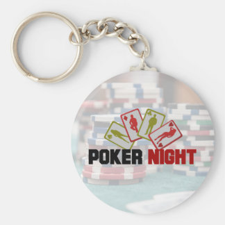 Poker Night with Playing Cards and Poker Chips Basic Round Button Key Ring