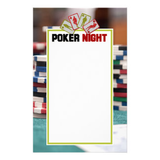 Poker Night with Playing Cards and Poker Chips Customised Stationery