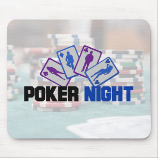 Poker Night with Playing Cards and Poker Chips Mouse Mat