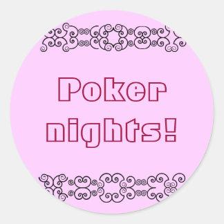 Poker nights round sticker