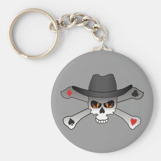 Poker Outlaw-skull Basic Round Button Key Ring