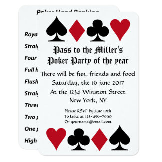 Poker Party Invitation With Hand Ranking Reminder