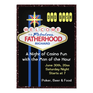 Poker Party New Daddy Baby Shower 13 Cm X 18 Cm Invitation Card
