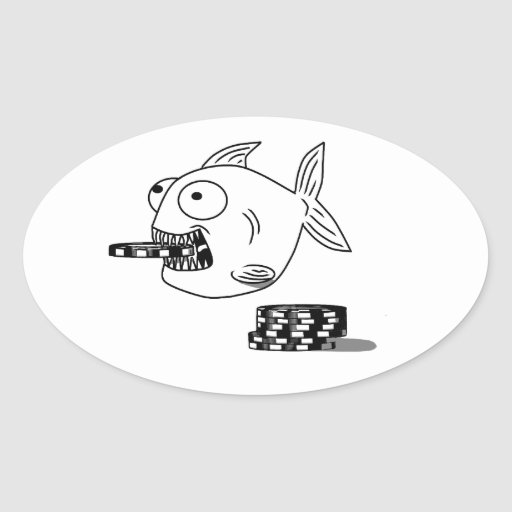 Poker Piranha fish Oval sticker for dad & players