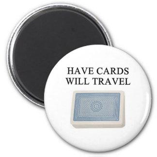 poker player lucky design 6 cm round magnet