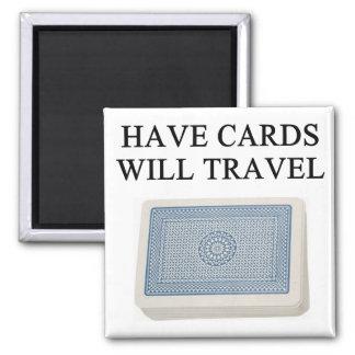poker player lucky design square magnet