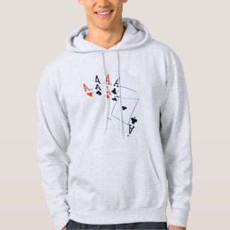 Poker,_Quad_Aces,_Mens_Hooded_Ash_Sweatshirt Hoodie