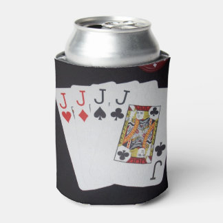 Poker, Quad Jacks Can Stubby Holder. Can Cooler