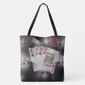 Poker,-Quad_Kings_Full_Print_Lg_Tote_Shopping_Bag. Tote Bag