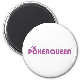 Poker queen texas holdem icon 6 cm round magnet