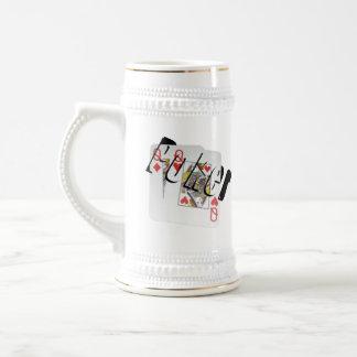 Poker Queens Dimensional Logo, Beer Stein Mug.