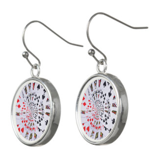 Poker Royal Flush Spiral Droste Drop Earrings