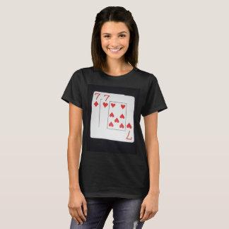 Poker,_Sevens,_Pocket,_Pair,_Ladies_Black_T-shirt, T-Shirt