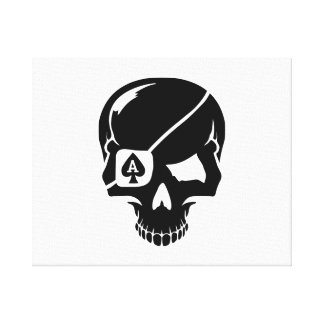 Poker skull ace stretched canvas prints