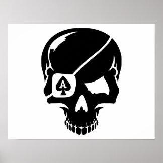 Poker skull ace poster