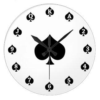 Poker Spades Large Clock
