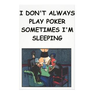 poker stationery paper