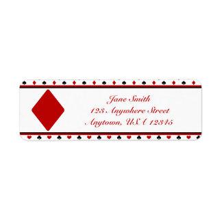 Poker Theme | Playing Card Suits | Red Diamond Return Address Label